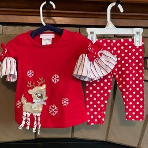 Bonnie Baby 3-6 Mo. 2-piece Reindeer Christmas Set